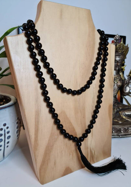 108 Mala Beads Necklace Jewelry, Prayer Beads, Meditation beads of 8/10 mm Black Onyx Stone with Tassel.