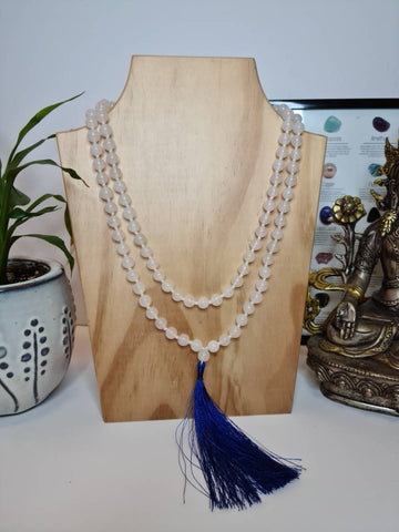 White Jade 108 Mala Beads Necklace, Prayer Beads, Meditation beads of 8/10 mm beads with Blue/Maroon Tassel