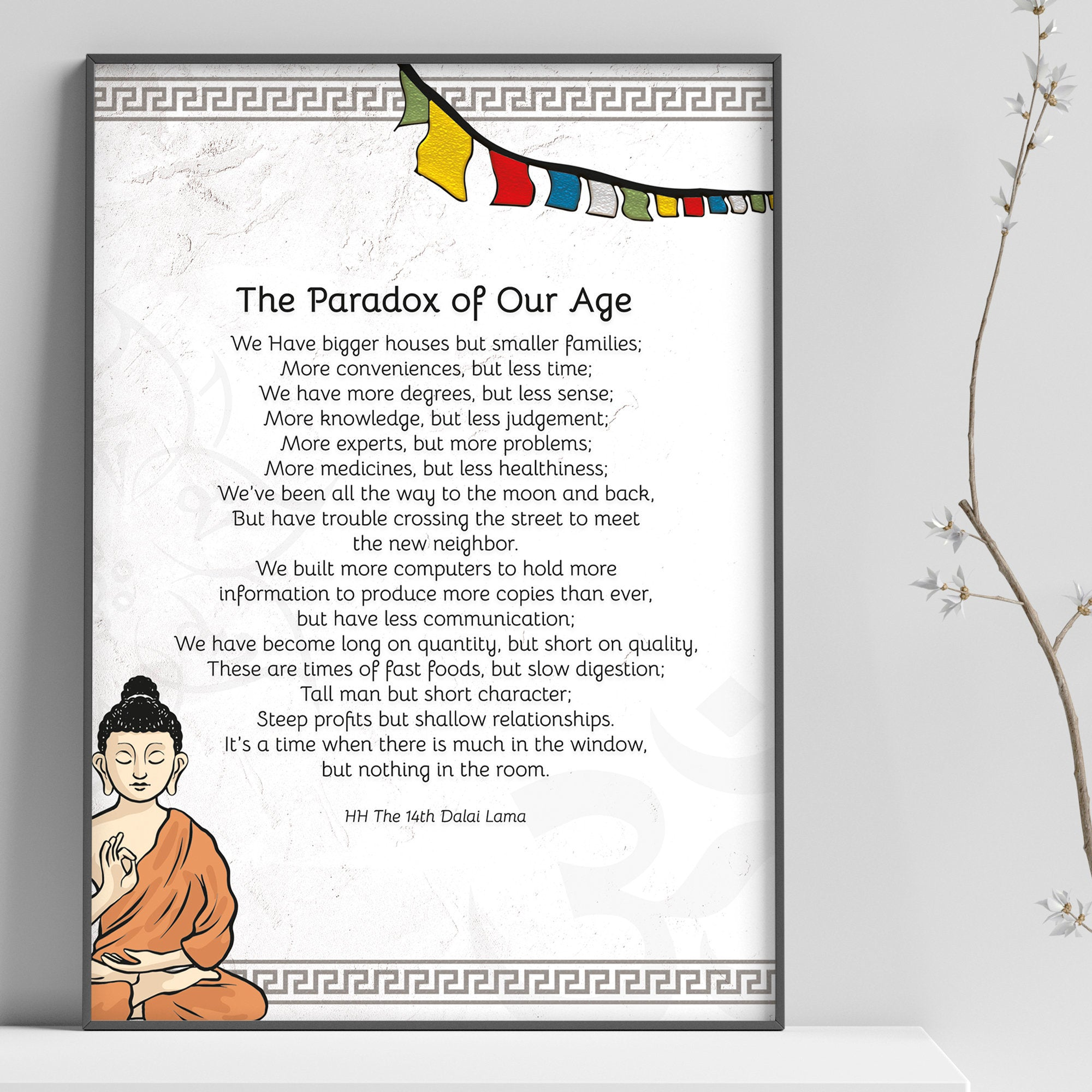 "Quotes Prints for Cards, Wall art, Posters. ""The Paradox of Our Age"" Wisdom quotes by HH the Dalai Lama for instant download"