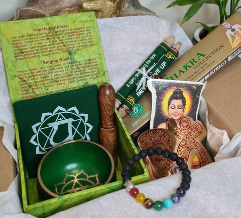 Chakra Self Care kit, Gift Box. Chakra bowl, Chakra Incense, Chakras & Lava stones bracelet, Wisdom Quote and Buddha, Om, Hamsa stickers.