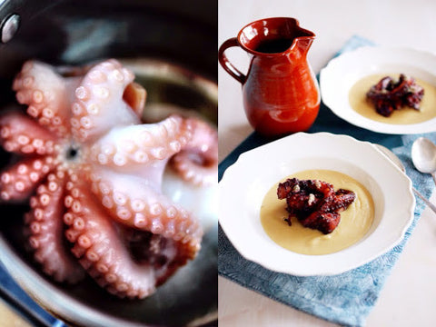 Recipe: Octopus with thyme honey, with fava.