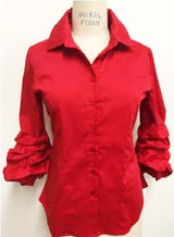 Stretch Button Down Puffy Sleeve Blouse