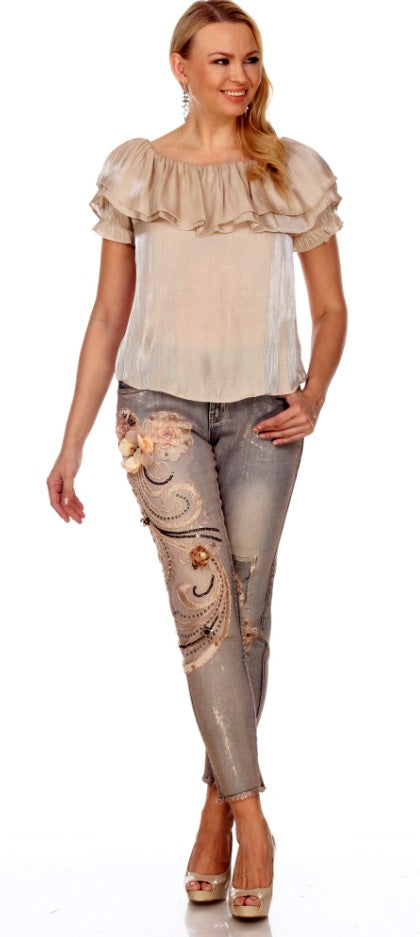 Light Blue Denim with Floral Embroidery and Embellishments