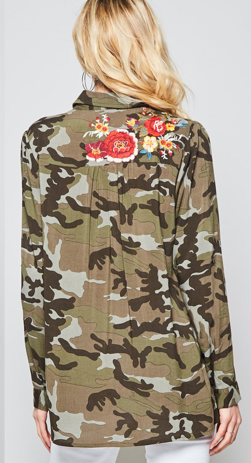 Camo Top with Floral Embroidery-Last One!