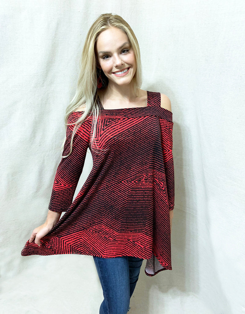 Red & Black Cold Shoulder Blouse-Last One