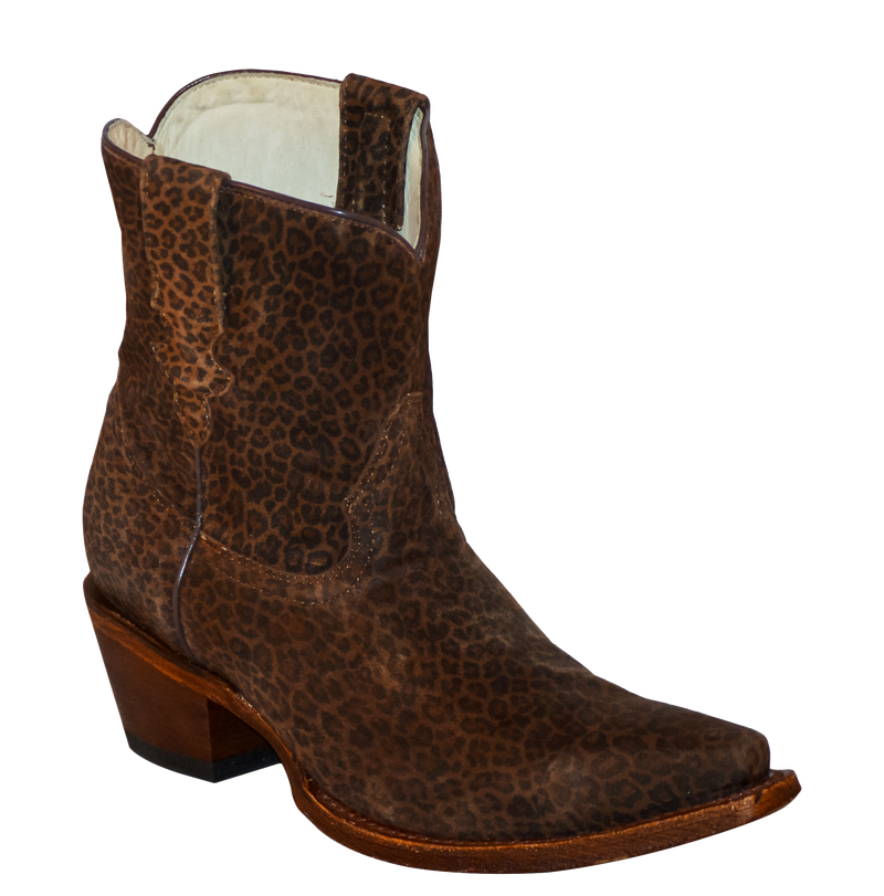 Leather Leopard Short Boots