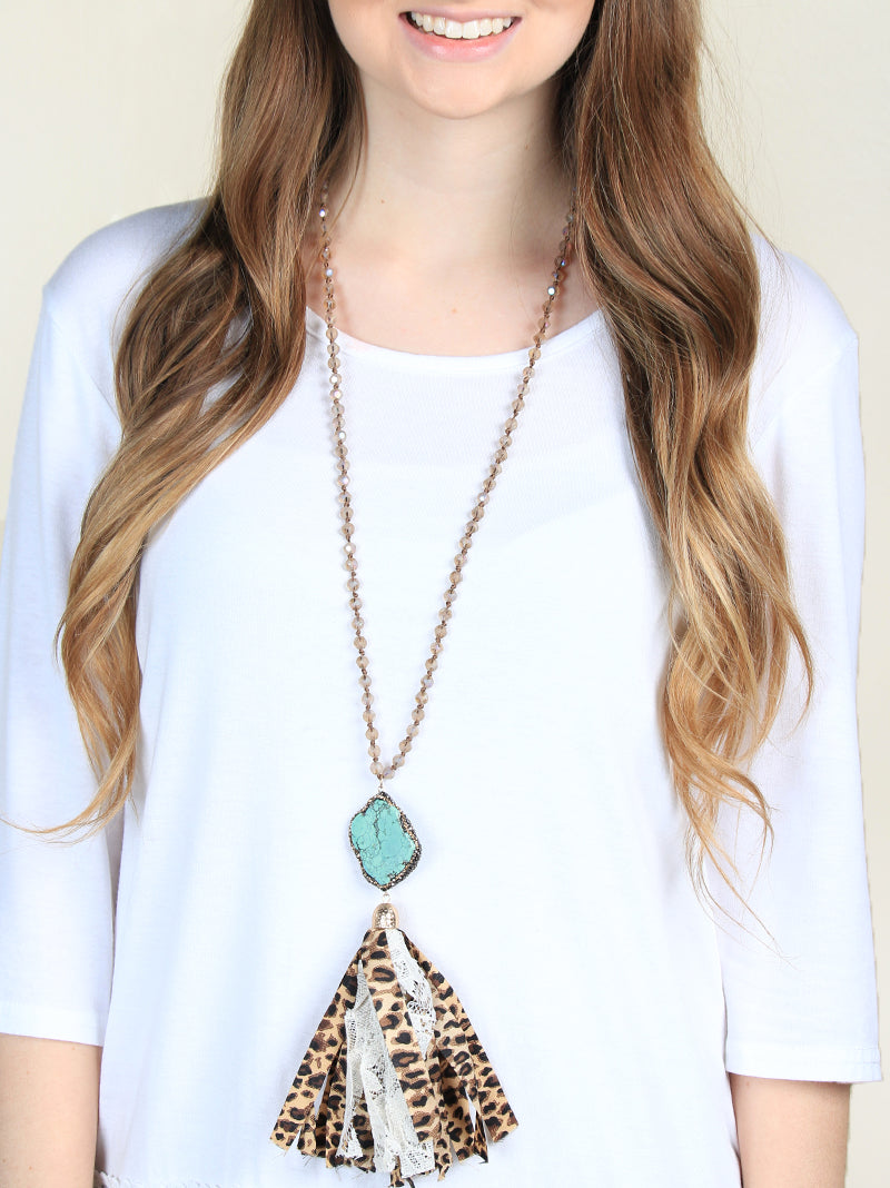 Country Girl Leopard Tassel Necklace with Turquoise Pendant