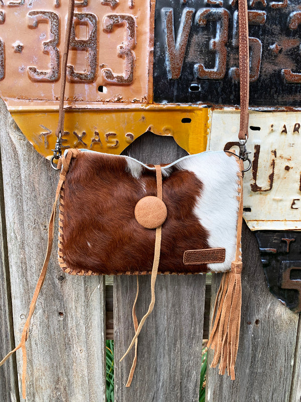 Cowhide Fur and Leather Cross Body Clutch