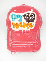 Dog Mama Pug Washed Vintage Baseball Hat