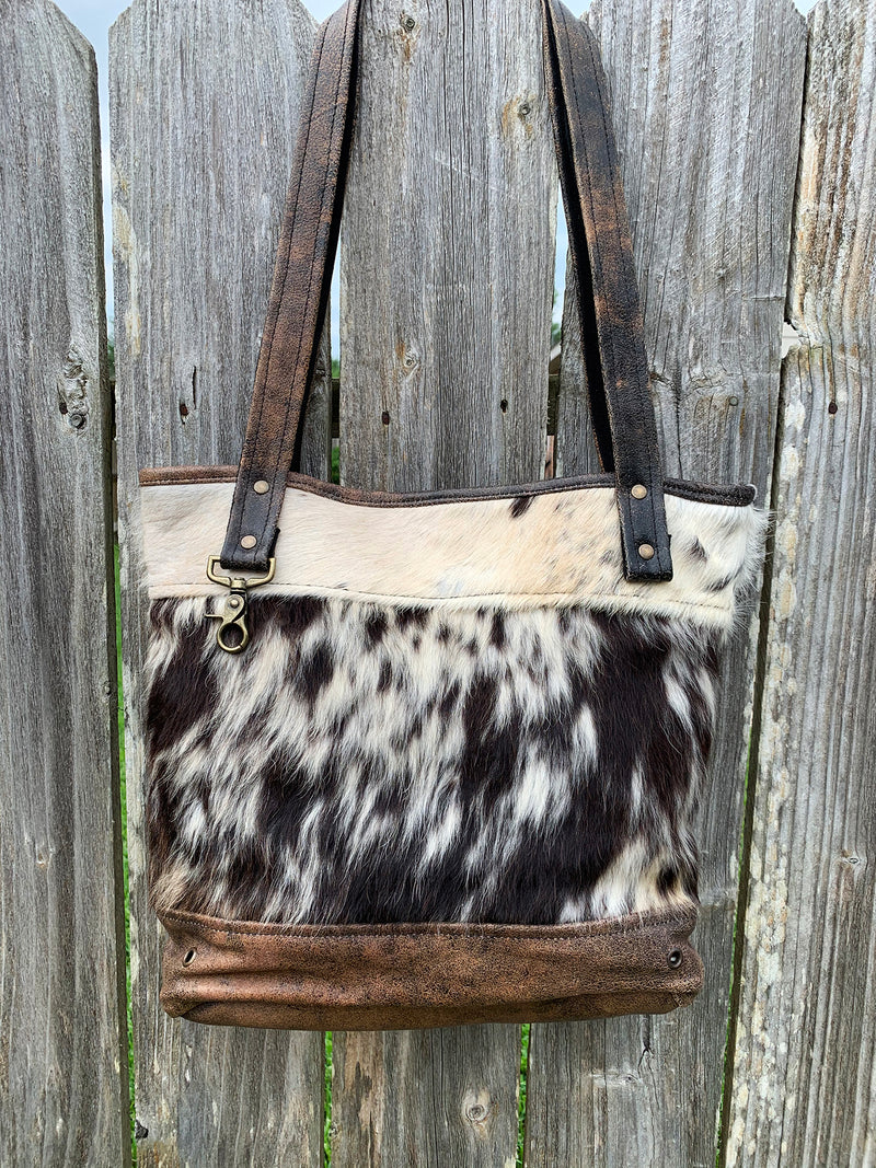 Brown Spotted Cowhide Fur and Leather Purse