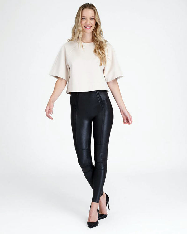 SPANX Faux Leather Hip Zip Legging