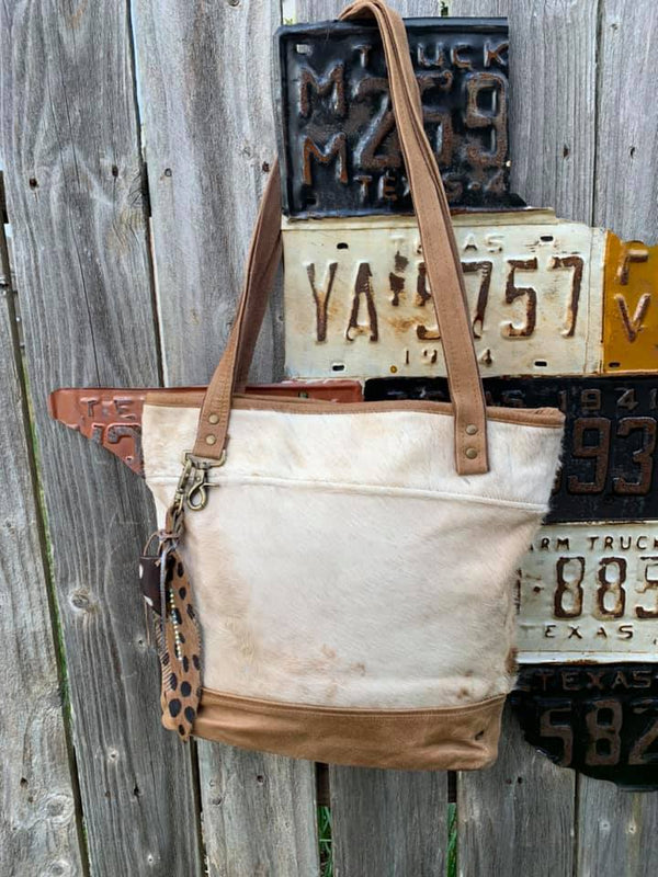 Cowhide Fur and Leather Bucket Bag
