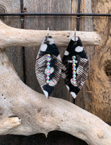 Fur Feather and Swarovski Crystal Earrings