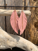 Leather Feather Earrings with Gold Chain