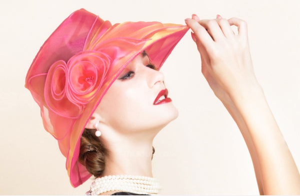 Glamourous Organza Floppy Hat with Flowers