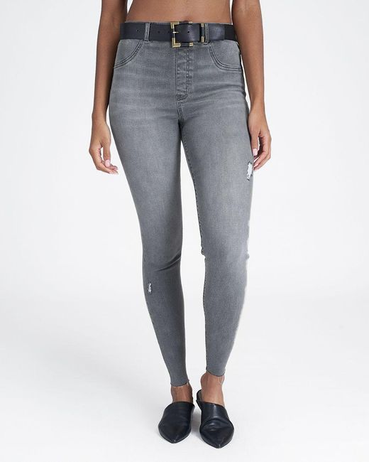 SPANX Gray Vintage Distressed Ankle Skinny Jeans
