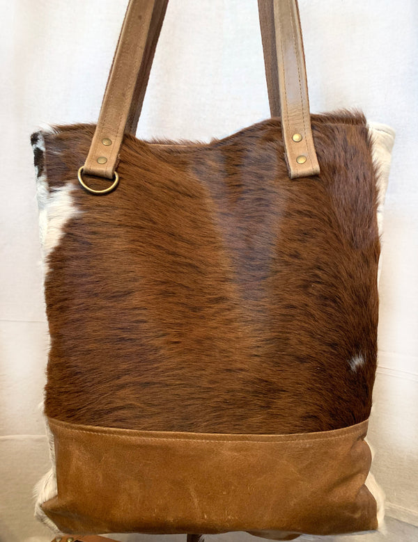 Cowhide Fur and Leather Deep Bucket Bag