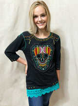 Black Embroidered & Beaded Candy Skull