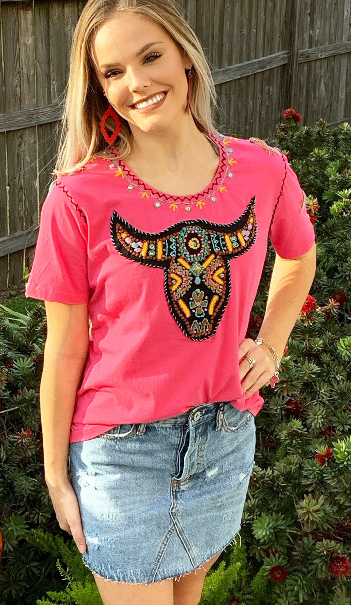 Embroidery & Beads Cowskull Top