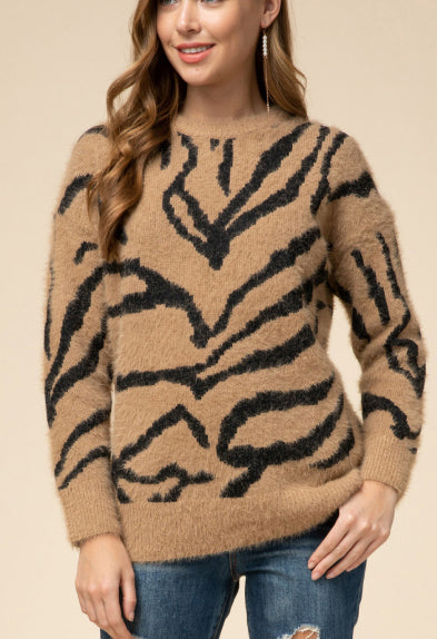 Brown Tiger Print Sweater
