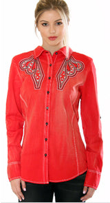 Vintage Red Western Button-Up Shirt