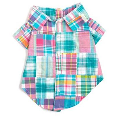 Turq Multi Patch Madras Dog Shirt