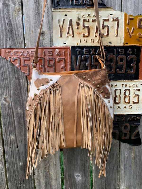 Leather and Fur Fringe Purse