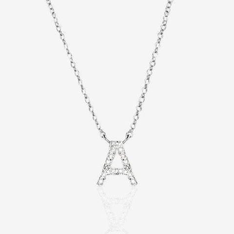 Diamond A Initial in Sterling Silver necklace