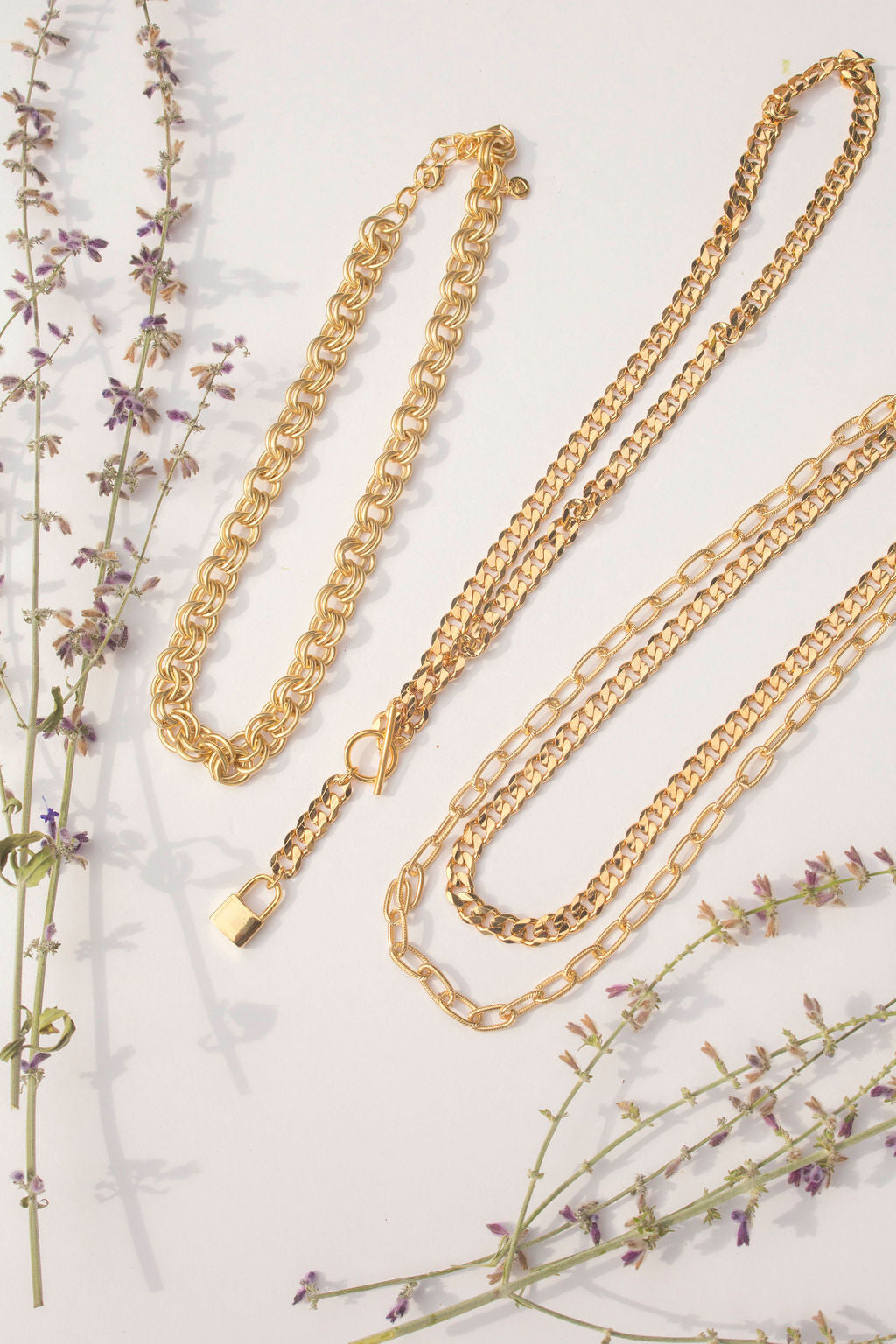 Hudson small and large Gold Necklace