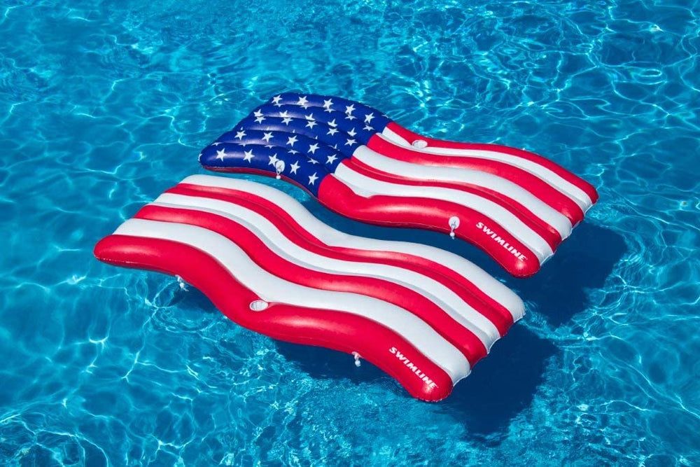 Swimline Americana Flag Connector Mat Pool Inflatable Ride-on, Red, White, Blue