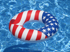 "Swimline 36"" Inflatable American Flag Swimming Pool and Lake Tube Float 90196"