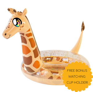 Pool Candy Glitterfied Giraffe Float with bonus Cup Holder