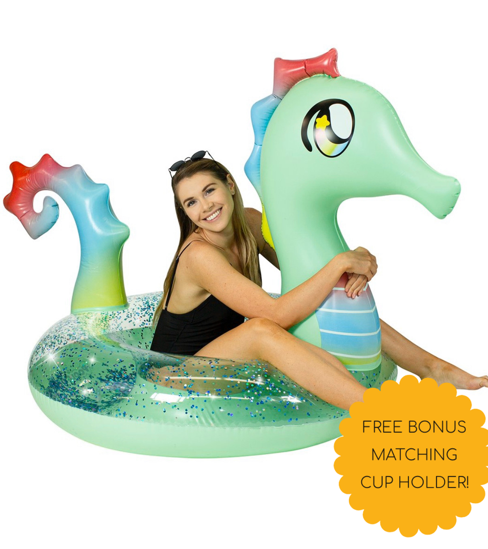 Pool Candy Glitterfied Sea Horse Float with bonus Cup Holder