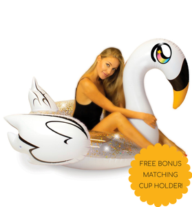 Pool Candy Glitterfied Swan Float with bonus Cup Holder