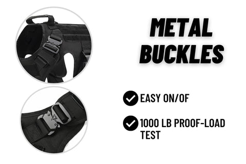 Black Military Dog vest with metal buckles