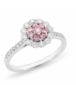 18ct WRG Pink Caviar Argyle Pink Diamond Cluster Dress Ring