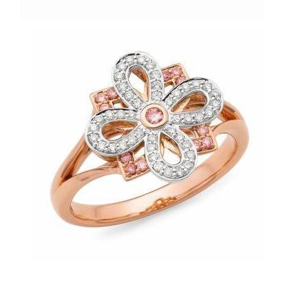 9CT RWG Pink Caviar Argyle Pink Diamond Fancy dress ring