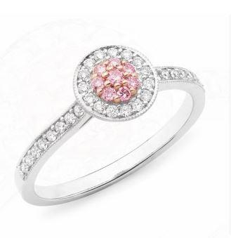 9ct WRG Pink Caviar Argyle Pink Diamond halo engagement ring