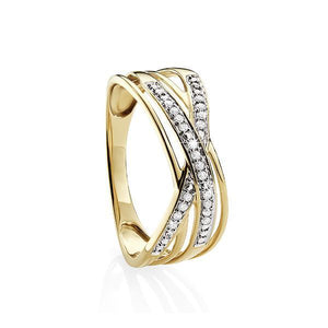 9 Carat Yellow Gold Diamond Dress Ring