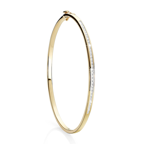 9ct 0.50ct channel set diamond bangle
