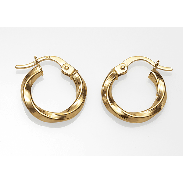 9ct 10mm ribbon twist hoops