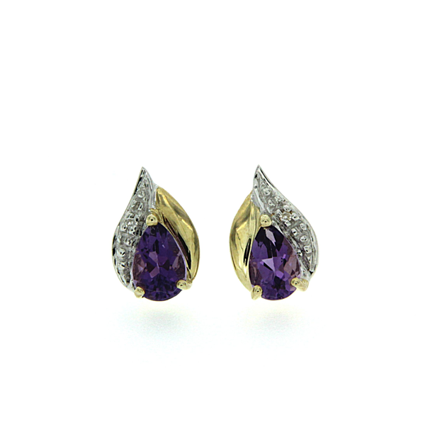 9ct Amethyst & Diamond Earrings