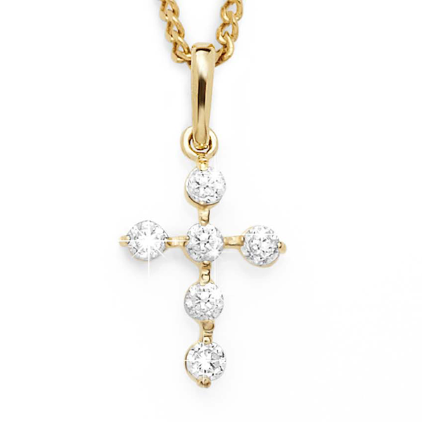 9ct Cubic Zirconia Cross Pendant