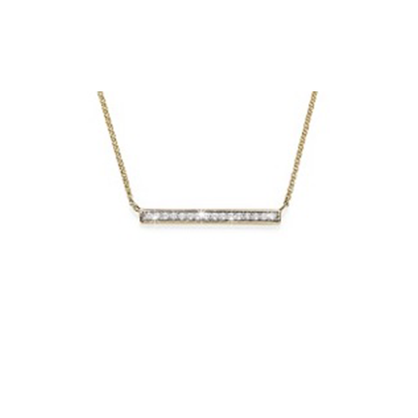 9ct Gold  0.18ct TDW Diamond Bar Pendant on Chain