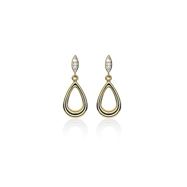 9ct Polished Pear Drop Earrings With Diamond Top