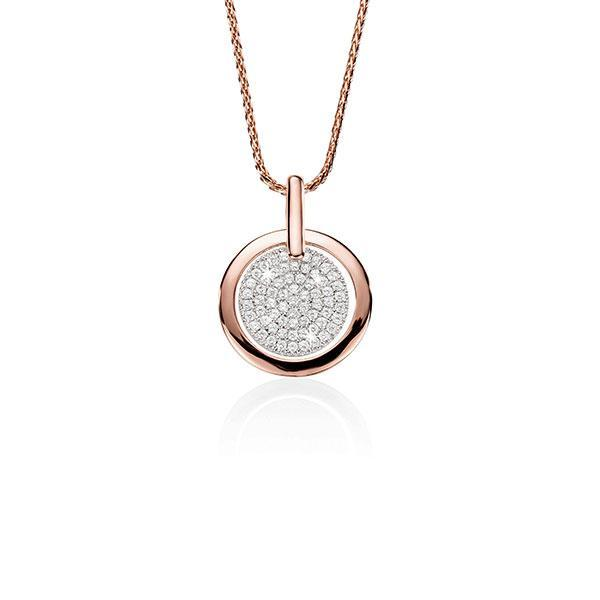 9ct Rose and White Gold Pave Cubic Zirconia Circle Pendant