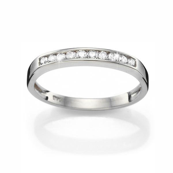9ct White Gold 0.10ct Diamond Band