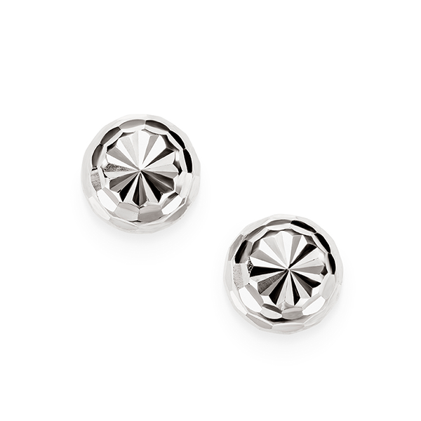 9ct White Gold Diamond Cut Ball Stud Earrings