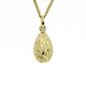 9ct diamond-cut drop pendant