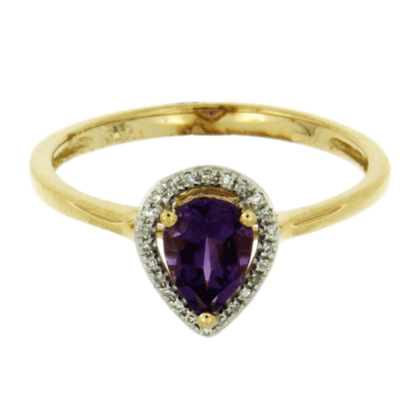 9ct gold amethyst ring